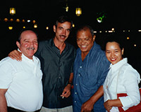 With spanish actor Imanol Arias, singer-songwriter Pablo Milanés and his wife Suyu. Madrid.