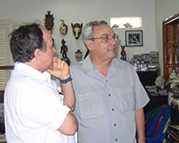 With Dr. Eusebio Leal Spengler, historian of the City of Havana, at Fabelo's studio, Havana.